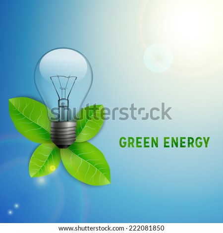 Light bulb with leaves. Ecological background