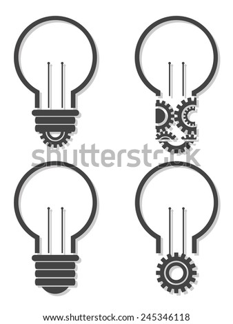 Light bulb with lightning in form of gear and idea word inside it, creativity, innovation concept - stock vector
