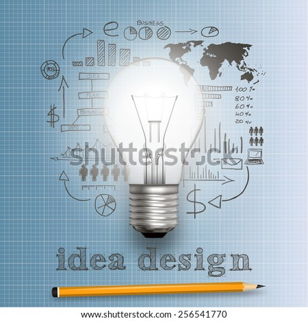 Light bulb with plan strategy idea in vector format - stock vector