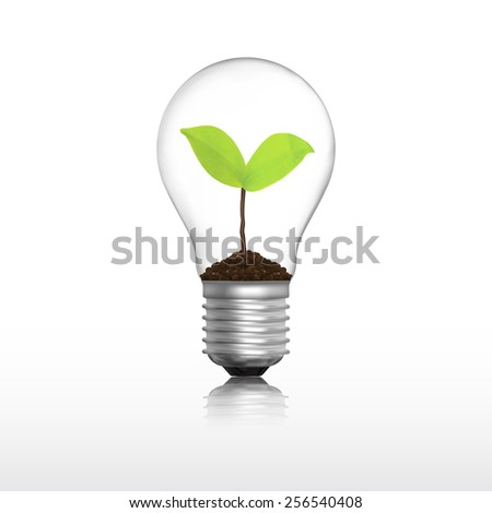 Light bulb with plant eco concept in vector format - stock vector