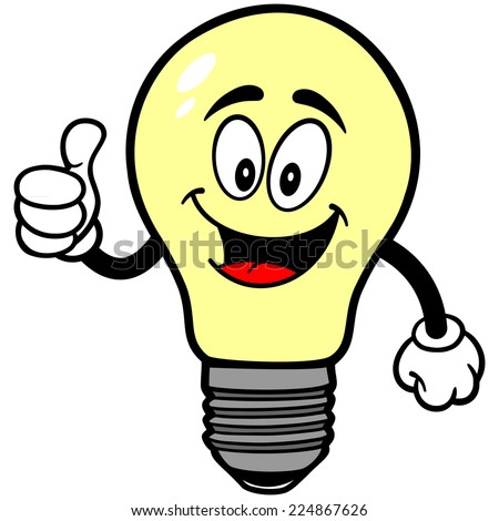 light bulb with thumbs up