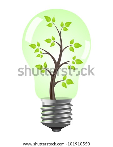 Light bulb with tree inside. Vector illustration, isolated on white.