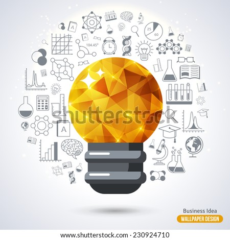 Light Bulb with Triangle Pattern background. Vector Illustration. Technology, Research and Science Line Style Icons. Business Idea Creative Concept. Idea Abstract Infographics. - stock vector