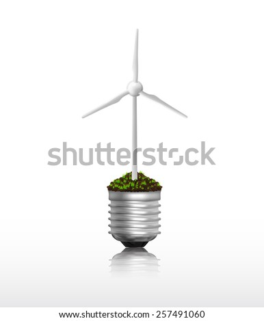 Light bulb with wind turbine eco concept in vector format - stock vector