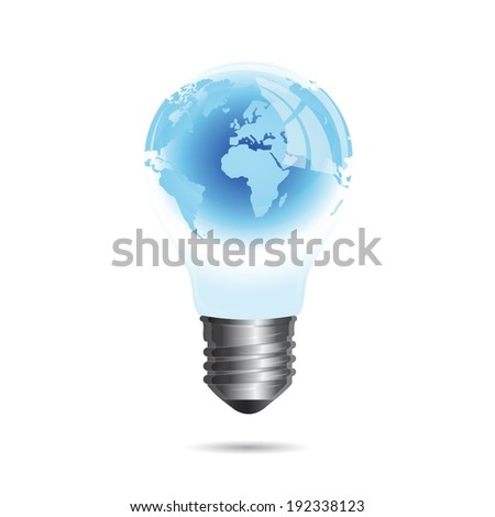 Light bulb with world inside isolated on white