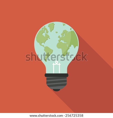 Light bulb with world map on it. Global ecology concept.  - stock vector