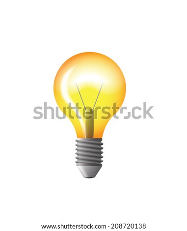 light bulb yellow vector illustration with gloss - stock vector