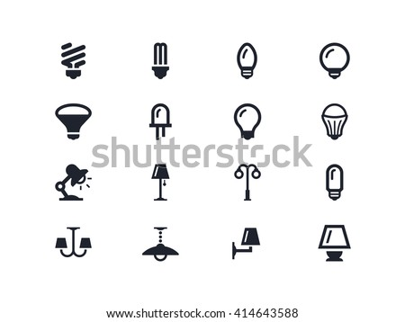 Light bulbs and lightning equipment icons