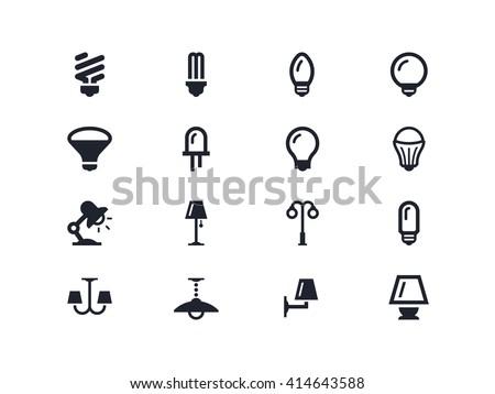 Light bulbs and lightning equipment icons - stock vector