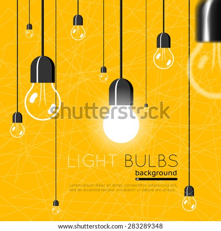 Light bulbs background. Idea concept. Energy power, electricity bright light, vector illustration - stock vector
