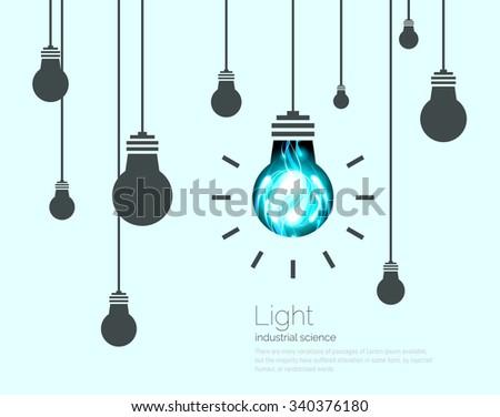 Light Bulbs Background. Industrial Science Idea concept vector illustration - stock vector