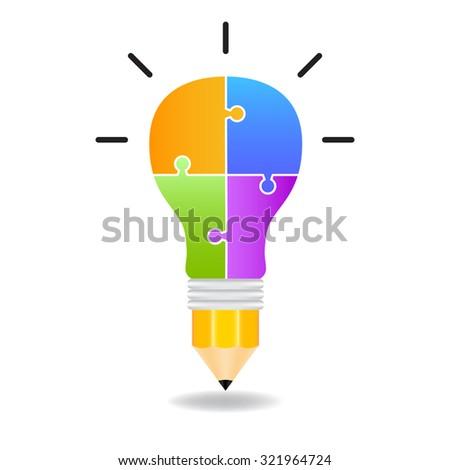Light bulbs jigsaw banner - stock vector