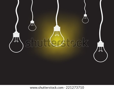 light Bulbs on black background