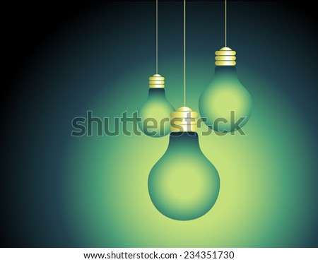 Light bulbs on green blue background