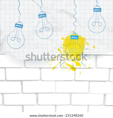 Light bulbs (one turn on, others turned off) sketched on the piece of squared paper with yellow ink splash. Vector illustration on white bricks background. Big idea and innovation concept. - stock vector