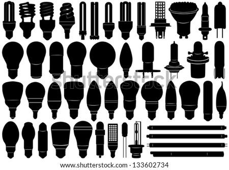 Light Bulbs Set - stock vector