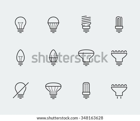 Light bulbs vector icon set in thin line style - stock vector