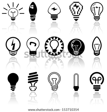 Light bulbs vector icons set. EPS 10.  - stock vector