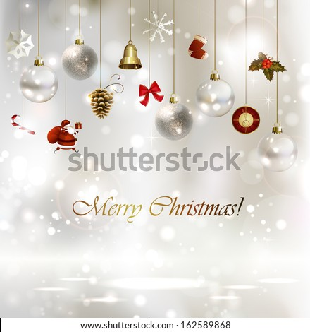 light Christmas background with baubles - stock vector