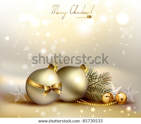 light Christmas background with two evening balls