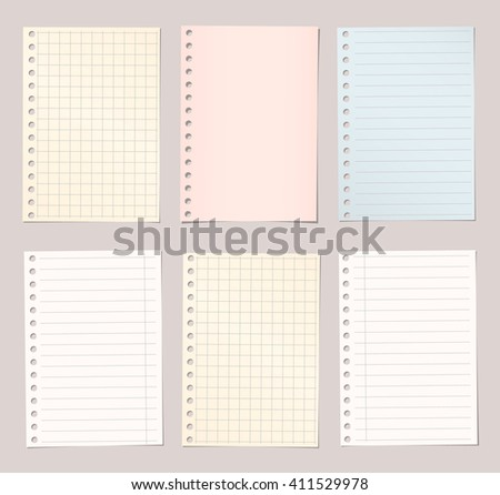 Light colorful lined and squared notebook paper are stuck on brown background
