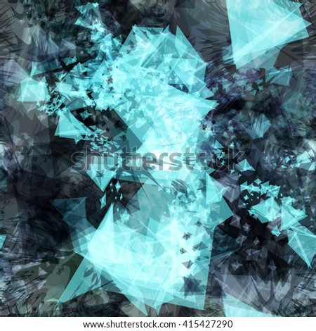 Light crystals and dark shapeless spots in the form of spikes. Seamless background for your design. Blue vector pattern.  Blur effect and watercolor - stock vector