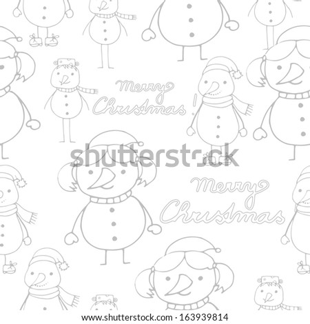 Light cute seamless xmas pattern with little snowmen