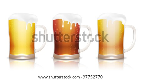 Light, dark and unfiltered beer in mugs with reflection, isolated on white, vector illustration, eps10 - stock vector
