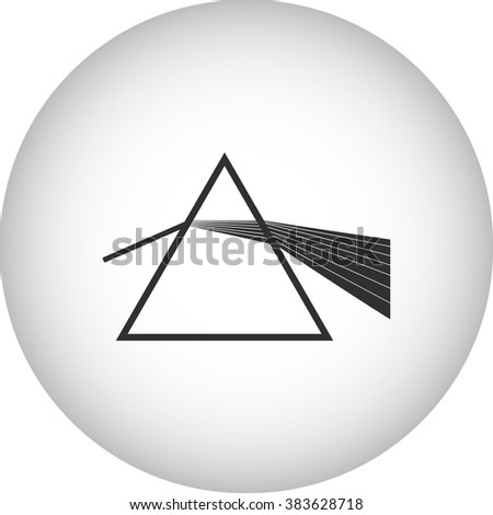 Light dispersion refraction simple icon  on round background - stock vector