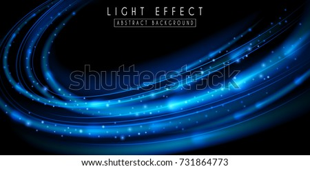 Light effect. Futuristic wave illustration. Blue sparkling background.