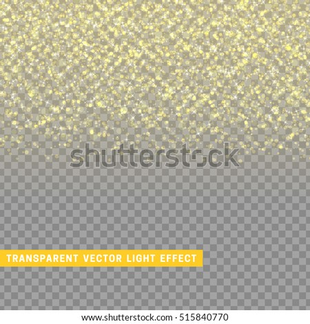 light effect gold texture glowing rain of confetti. Glitter particles shining stars. Christmas background Bright design element. Xmas decoration luxury greeting card.