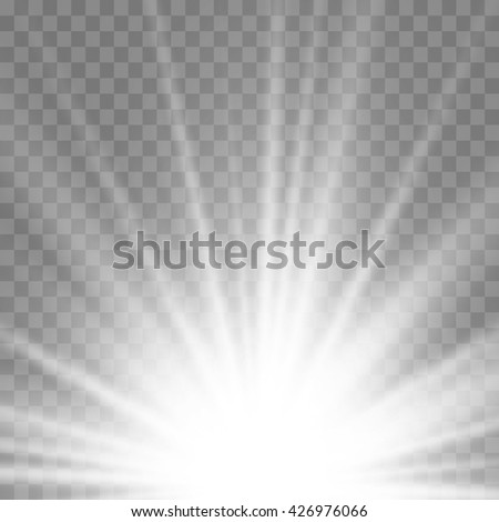 Light Effect Sun Rays Transparent Background Vector Illustration