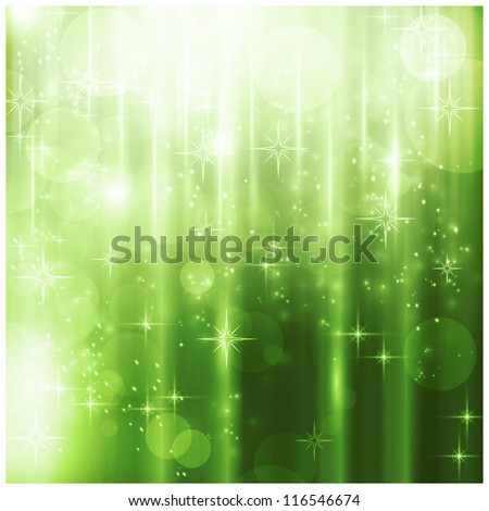 Light effects, blurry light dots and stars on a sparkling green background for your Christmas design. - stock vector