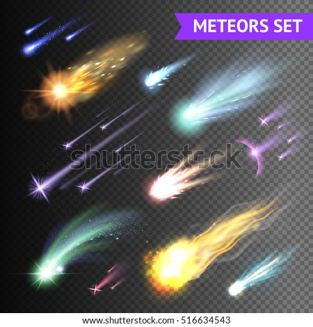 Light effects collection with comets meteors and fireballs isolated on transparent background vector illustration