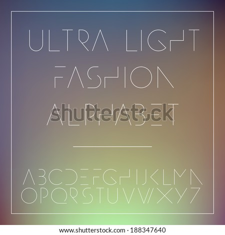 Light fashion alphabet letters collection, vector illustration.  - stock vector
