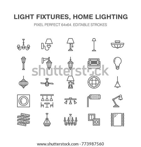 Light fixture lamps flat line icons 773987560 light fixture lamps flat line icons home and outdoor lighting equipment chandelier mozeypictures Images