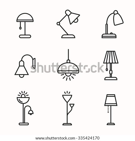 Light fixture linear icon set. Lamps and lighting devices. Simple outlined icons. Linear style - stock vector