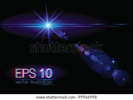 Light flare special effect (star/horizontal) - vector illustration. - stock vector