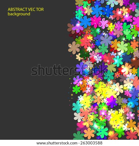light frame background for your text or presentation with many bright colors flowers - stock vector
