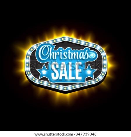 Light frame with glowing lights, garlands of blue and yellow with the words Christmas Sale. Background on sale, discounts, promotions in the winter.