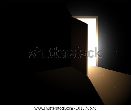 light from the open door - stock vector