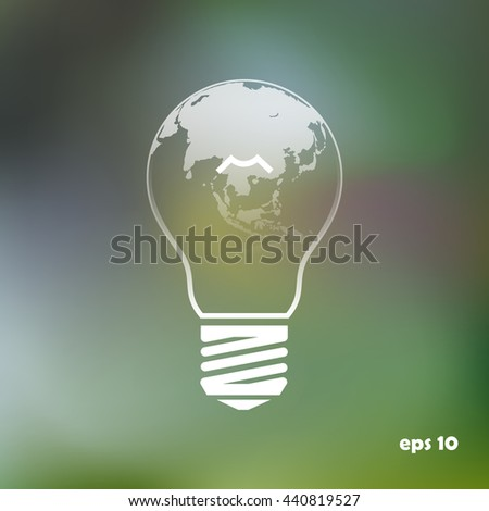 light from the surface of the globe on the lamp.  eco concept
