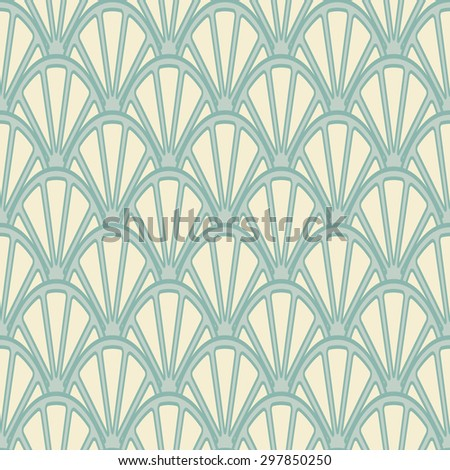 Light geometric background in the form of fish scales. Seamless vector pattern with needles and arcs.