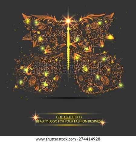 light glitter butterfly. Beauty fashion logotype - stock vector