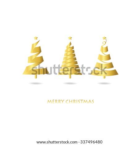 light gold christmas tree card - Gold Christmas Trees