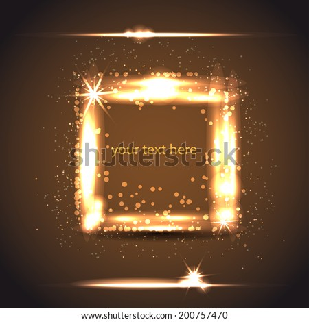 light gold frame from square - stock vector