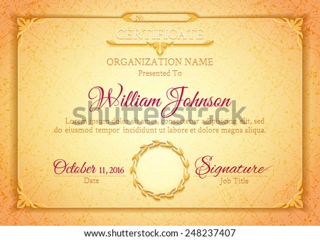 Light golden classic certificate with a marble texture, vintage decorative elements and frame with space for stamp seal and congratulatory text