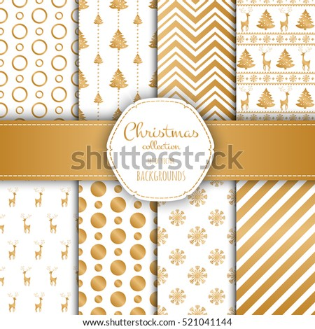 Light golden collection of seamless patterns. Set of seamless backgrounds with traditional symbols - snowflakes, pine tree,deer and suitable abstract patterns.