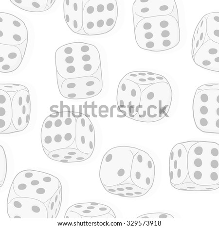 Light gray dices on the white background. Monochrome seamless original pattern. Vector EPS8 - stock vector
