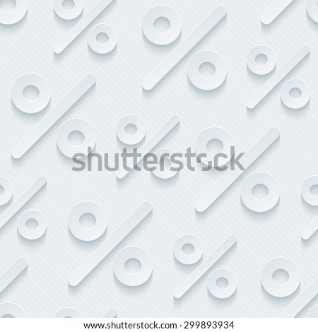 Light gray percent symbols wallpaper. 3d seamless background. Vector EPS10. See others in My Perforated Paper Sets. - stock vector